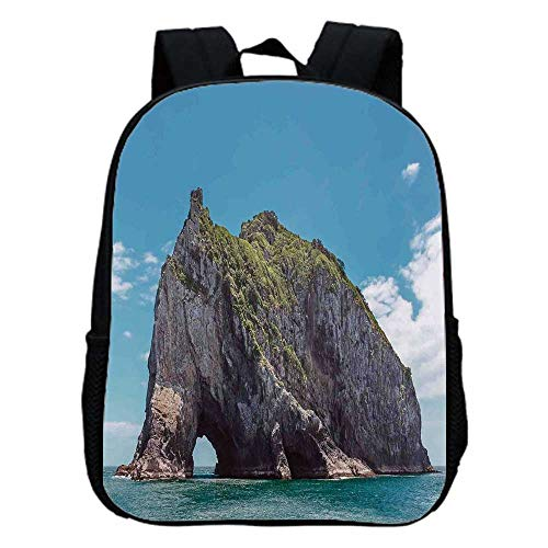 Seaside Decor Fashion Kindergarten Shoulder Bag,Famous Elephant Shape Rock with the Grand Hole in Bay of Islands Nz Cavern Peace Photo For Hiking,One_Size