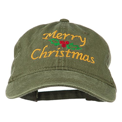 E4hats Merry Christmas Mistletoe Embroidered Washed Dyed Cap - Olive Green OSFM