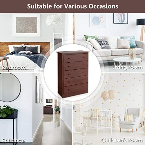home, kitchen, furniture, bedroom furniture,  dressers 1 picture Giantex 5 Drawer Chest, Storage Dresser, Wooden Clothes promotion