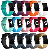 (US) Velavior 15 Colors Bands for Fitbit Charge 3 / Charge3 SE, Waterproof Replacement Wristbands for Women Men Small Large (15 Pack, Small)