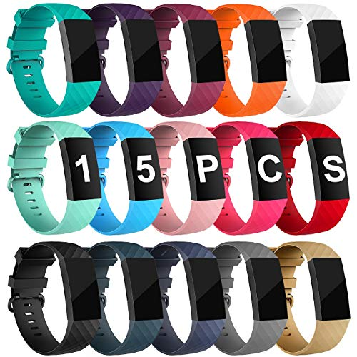 Velavior 15 Colors Bands for Fitbit Charge 3 / Charge3 SE, Waterproof Replacement Wristbands for Women Men Small Large (15 Pack, Small)