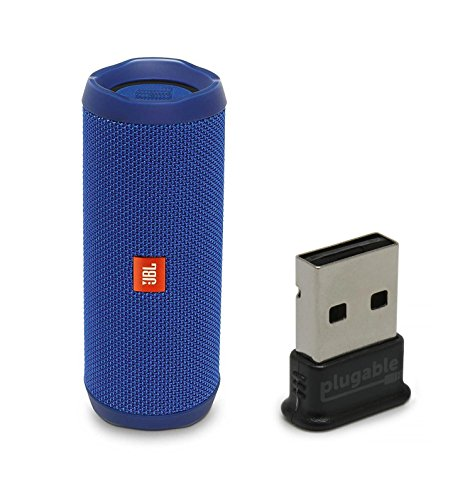 JBL Flip 4 Waterproof Portable Bluetooth Speaker, Blue, with Plugable USB 2.0 Bluetooth Adapter (USB-BT4LE)