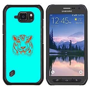 Stuss Case / Funda Carcasa protectora - Neon Blue Tiger - Samsung Galaxy S6Active Active G890A