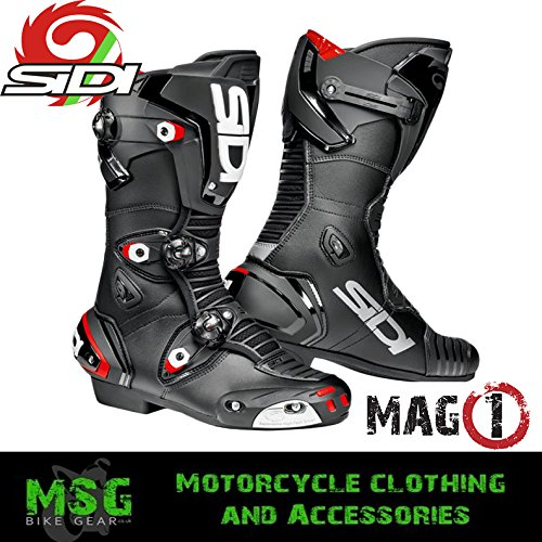 SIDI MAG-1 CE APPROVED MOTORCYCLE MOTORBIKE SPORTS RACE BOOTS - BLACK EC 40