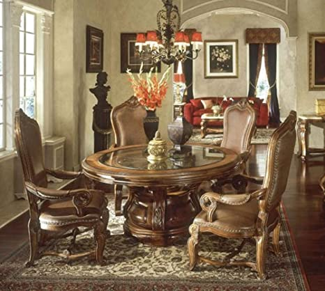 Michael Amini Tuscano Round Dining Table Set With Arm Chairs
