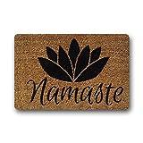 Shirley's Door Mats Custom Personalize Namaste Coir Indoor/Outdoor Doormat Rugs Floor Mat Top Fabric & Non-Slip Rubber Backing Entryways Carpet 23.6 X 15.7 Inch