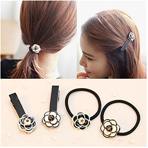 Casualfashion-2Pcs-Korean-Camellia-Flower-Hair-Ties-and-2Pcs-Camellia-Flower-Hair-Bangs-Clips-for-Women-Girls