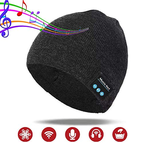 Wireless Beanie Hat with Bluetooth Headphones for Men Gifts, Unisex Knit Cap Stocking Stuffers Christmas Birthday Gift for Outdoor Winter Sports, Skiing, Running, Skating, Women and Teen
