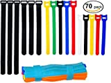 #8: Ceeyali Colored Reusable Fastening Cable Ties Cable Straps for Wires Organization Wire Management Pack of 70