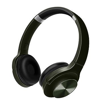 Funwaretch Auriculares Diadema, Cascos Bluetooth Inalambricos Plegable con Micrófono, Hi-Fi Sonido Estéreo, Manos Libres,TV, Tablet,Móviles(Verde)