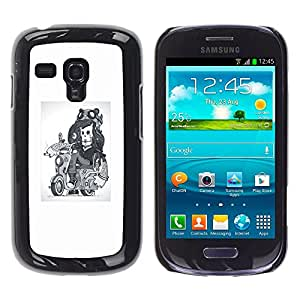 EJOY---Cubierta de la caja de protección la piel dura para el / Samsung Galaxy S3 MINI 8190 / --Abstract Girl esquelético del motorista