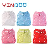 Cloth Diapers,YINBOO New Baby diaper 6 pack 6 Inserts,Washable vailable diapers Cover,Cartoon,Animal,Adjustable Nappy,Reusable,Gift set,0-2years,7-35 lb,One size girl color