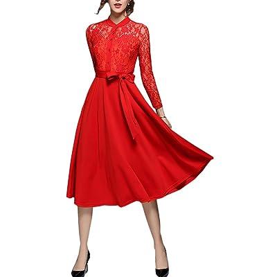 4URNEED Stehkragen Damen Langarm Sommer Abendkleid Cocktailkleid Partykleid Lace Spitze Kleid Rockabilly Kleid