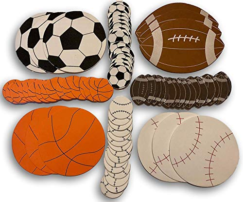 72 Foam Sport Shapes and Stickers- Soccer, Baseball, Basketball, and Football]()