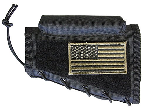 M1SURPLUS Black Color Ambidextrous Cheek Rest With Stock Riser Pad and PATRIOT FLAG USA Patch Fits Winchester Model 70 XPR CZ 452 455 512 527 557 HOWA 1500 Remington 597 - 597 Remington Mount Scope