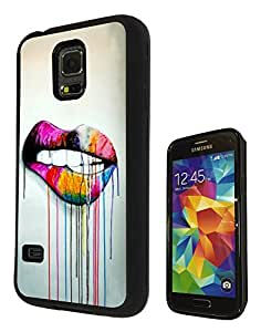 Samsung GALAXY S5 Mini Watercolour Cute Sexy Lips Cool Funky Design Fashion Trend SILICONE GEL RUBBER CASE COVER Full Sides and top Case