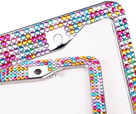 ZAKSEM Bling License Plate Frames Handcrafted Sparkly Stainless Steel License Plate Frames with Free Glitter Diamond Crystal Rhinestone ABcolor-2P 2Pcs Rhinestone License Plate Frames for Women
