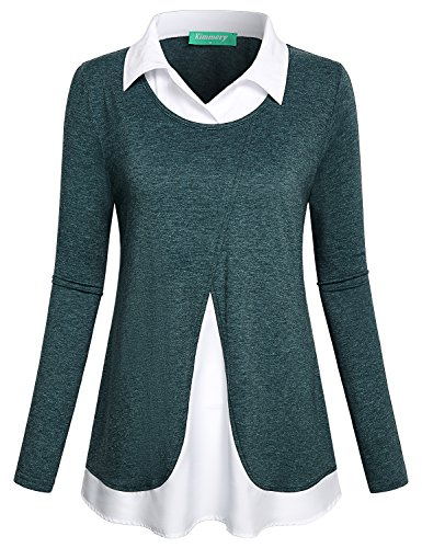 Kimmery Tunic Tops For Leggings For Women, Ladies Knitted Lightweight Cute Regular Collar Shirt Misses Casual Loose Fit Vintage Feminine A Line Blouse Green (Misses Dress Top Shirt)