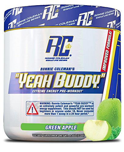 YEAH BUDDY PRE WORKOUT - Extreme Non Crash Sustained Energy Preworkout & Nitric Oxide Supplement with Extended Release Caffeine, TeaCrine and Agmass, Green Apple, 30 Serving