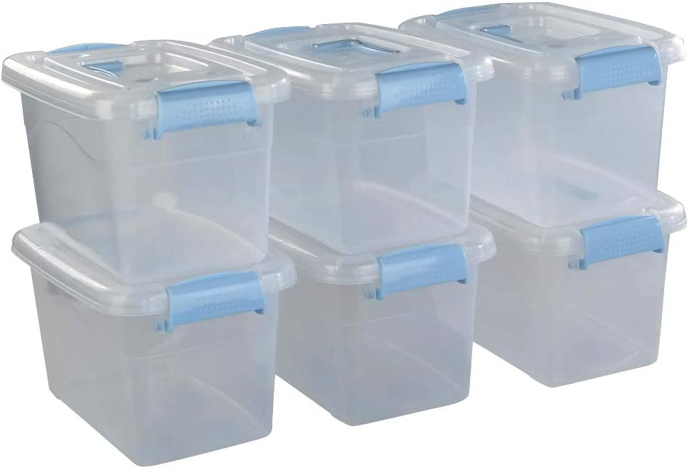 Doryh 5 L Plastic Storage Bin with Lid, Clear Transparent Box With Handles Set of 6