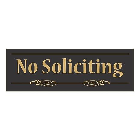 Amazon.com: Cartel decorativo No Soliciting, Negro, dorado ...