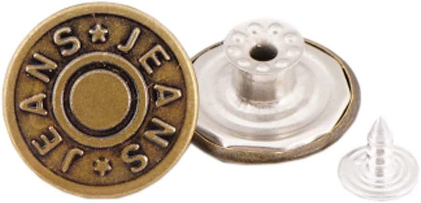 10 Pcs 20mm Vintage Buttons Replacement Tack Button for Jean Jacket Suspenders 2#