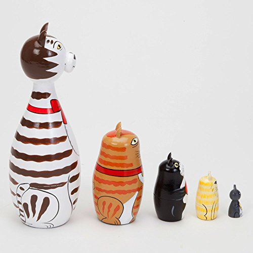 Bits and Pieces - ''Cleo & Friends Nesting Cats-Hand Painted Wooden Nesting Dolls Matryoshka - Set of 5 Dolls From 7'' Tall with Gift Box by Bits and Pieces (Image #5)