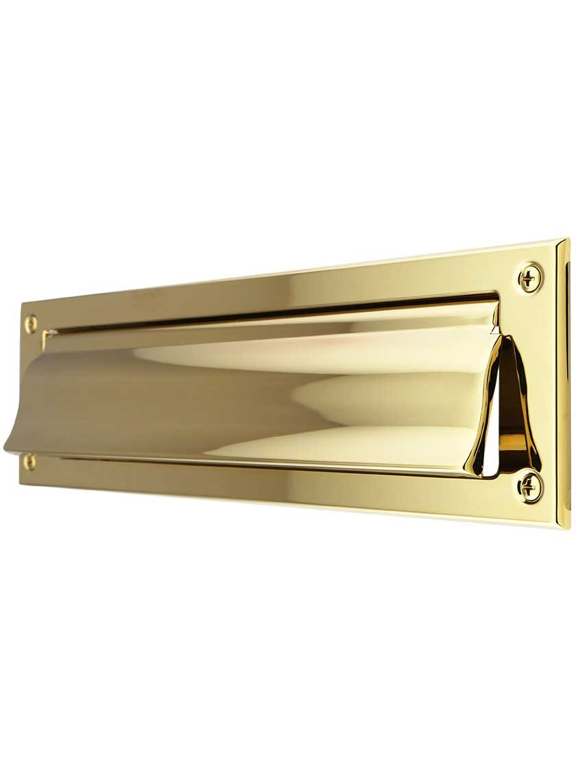 Solid Brass Magazine Size Mail Slot With Open Back Plate in Polished Brass Finish