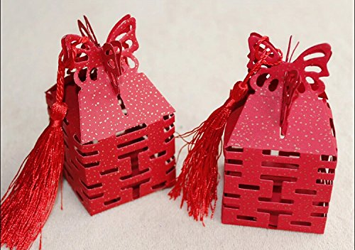 (Joinwin® 50pcs New Red Double Happiness Candy Boxes Gift Boxes Wedding Party Favors Box)