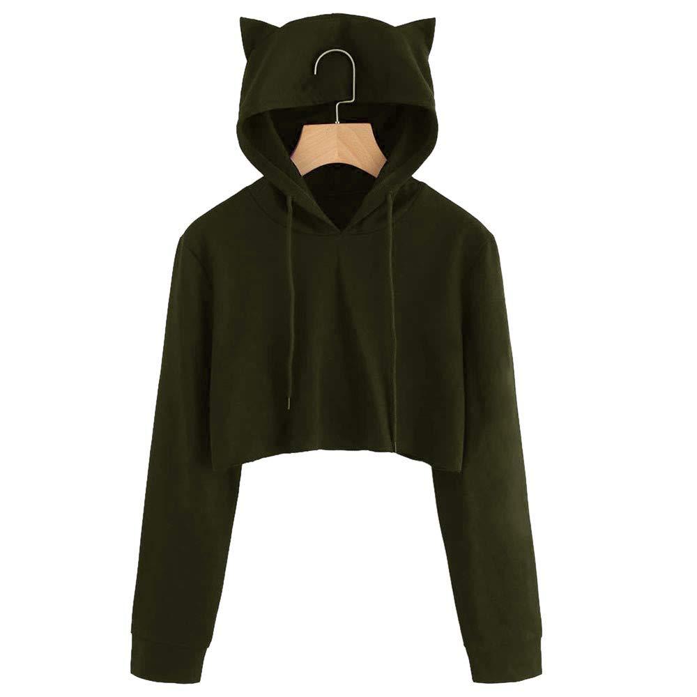 Womens Plus Size Cat Ear Long Sleeve Hoodie Sweatshirts Cute Casual Solid Hooded Crop Pullover Tops Blouse