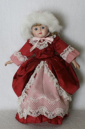 (JOINER Porcelain Doll 16 inches Standing with Curled Blond Hair with Elegant Valet and Pink Gown Lace Trimming, and Pink with Fur Cap, Perfect for Collector and Gift.)