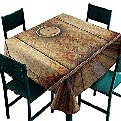 Warm Family Victorian Oil-Proof and Leak-Proof Tablecloth Antique Clock on Medieval Style Wall Wooden Floor Classic Architecture Theme Art Indoor Outdoor Camping Picnic W60 x L60 Beige Brown