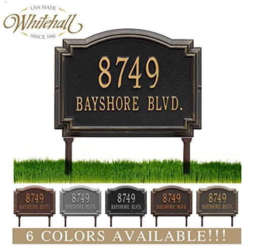 Metal Address Plaque Personalized Cast Lawn Mounted Williamsburg Plaque. Display Your Address and Street Name. Custom House Number Sign.