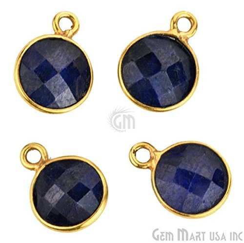 Wholesale Sapphire, Bezel Round Shape Connector, 8mm Round 24k Gold Plated, Single Bail 1pc. - Wholesale Sh