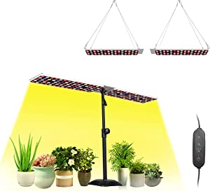 JCBritw 100W LED Grow Lights Panel for Indoor Plants Grow Lamp with Stand Full Spectrum with IR&UV Desk Table Plant Light Dimmable with Timer for Seed Starting, Succulents, Seedlings, Veg Flower
