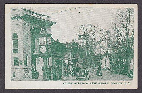 Ulster Bank - Ulster Avenue at Bank Square Walden NY postcard 1920s