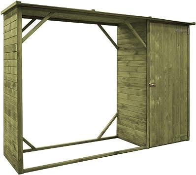 vidaXL Caseta de Leña y Herramientas Jardín Madera de Pino FSC 253x80x170 cm: Amazon.es: Bricolaje y herramientas