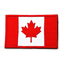 CANADA Flag Embroidered Patch Canadian Hook Loop Patch Embroider Motorcycle Biker Tactical Velcro Fully Embroidered Morale Tags Patch Sew Iron On for Travel Backpack Hats Jackets Team Uniform Military