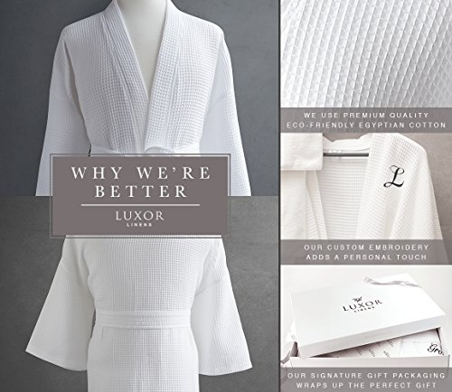 Luxor Linens Waffle Weave Spa Bathrobe - Ciragan Collection - Luxurious, Super Soft, Plush & Lightweight - 100% Egyptian Cotton, Made in Turkey (Single Robe With Gift Packaging, No Monogram) by Luxor Linens (Image #8)