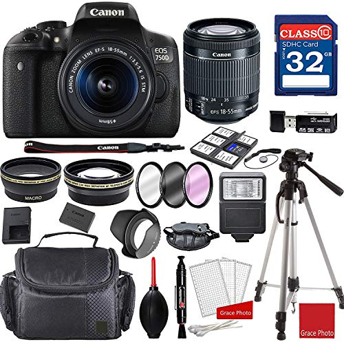 Canon EOS 750D Rebel T6i Kit with EF-S 18-55mm f/3.5-5.6 is STM Lens + Professional Accessory Bundle