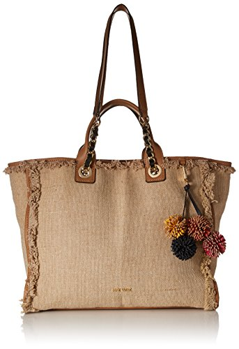 - Nine West Trixie Tote with Pouch, Two-Tone Dark Camel/Natural