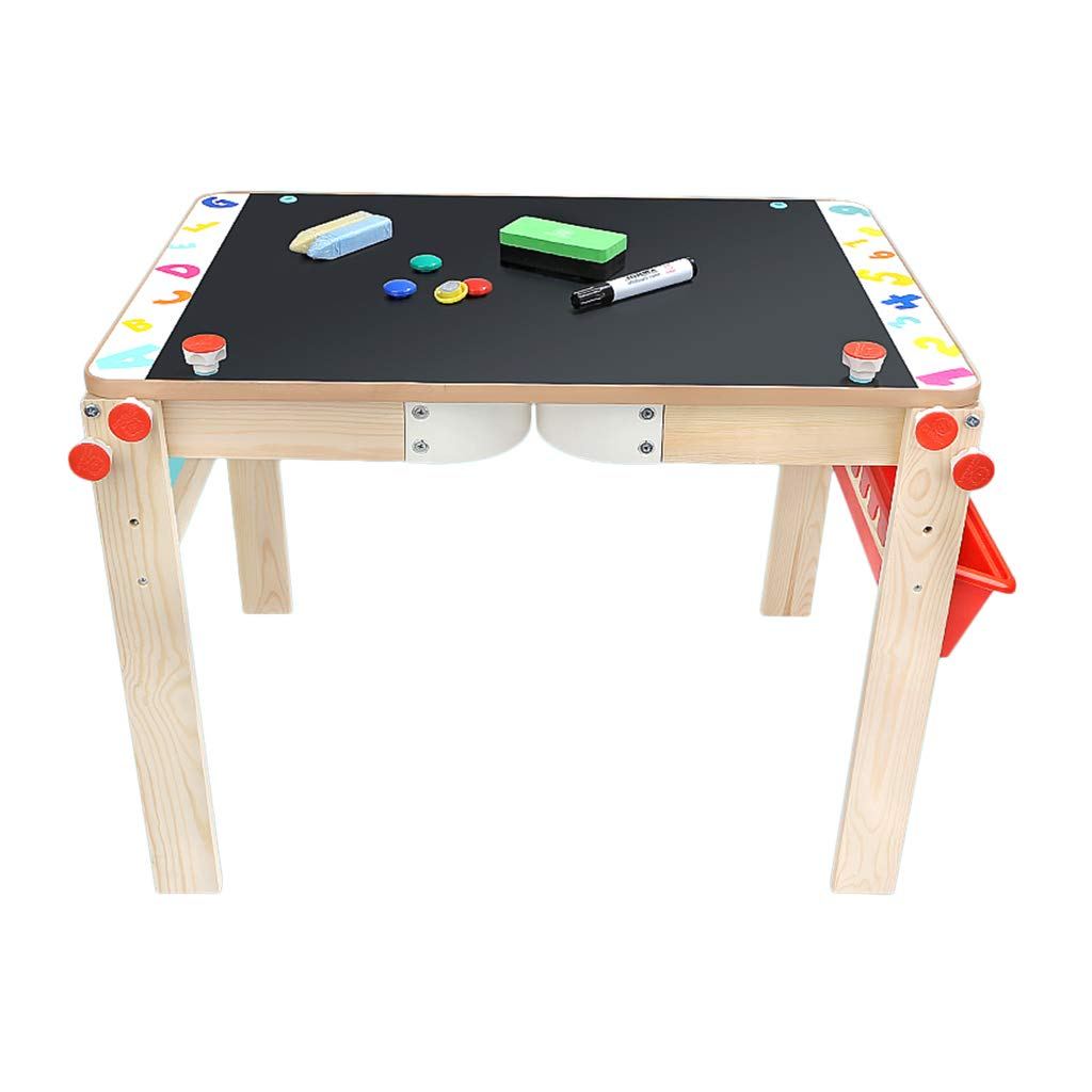 Xing Hua home Household children's drawing board can be raised and lowered small blackboard bracket drawing board double-sided magnetic writing board (Color : Wood color, Size : 70.5 * 46cm)