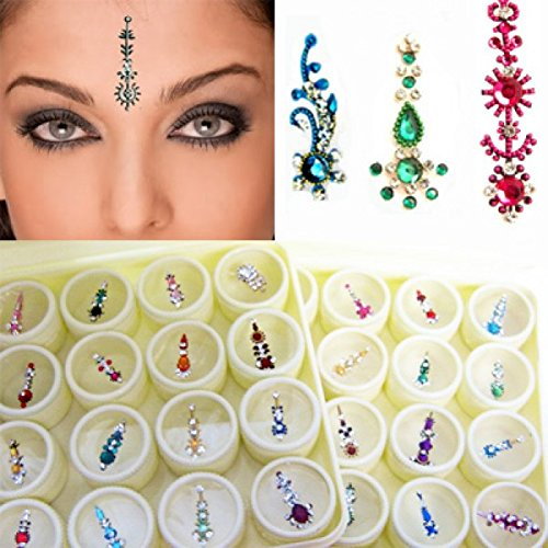 Bindi Box Long Multicolored Crystal Bindis Bridal face Jewels Forehead Tika (Pack of 20 Bindis)