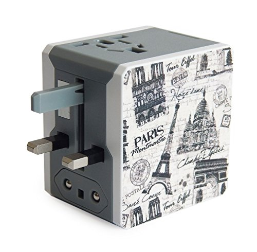 (Retro Series Worldwide Travel Power Adapter with 2 USB ports (5V / 2.1A) - Paris Edition)