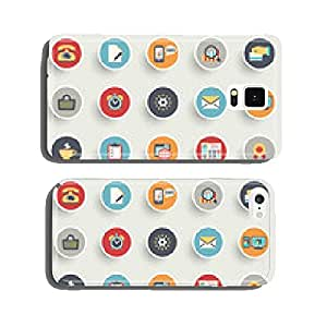Color modern icons on buttons. Flat design. cell phone cover case Samsung S6