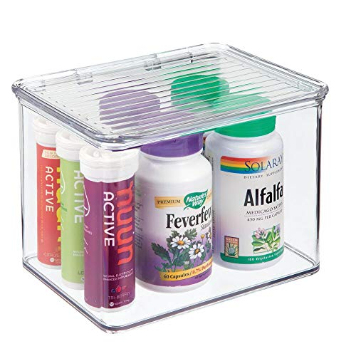 mDesign Stackable Plastic Storage Bin Box with Hinged Lid Organizer for Vitamins, Supplements, Serums, Essential Oils, Medicine Pill Bottles, Adhesive Bandages, First Aid Supplies - Clear