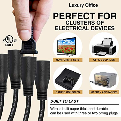 SJT 16 AWG Black 4 Way Power Splitter By Luxury Office 1 1 to 4 Cable Strip With 3 Pronged Outlet and 1.5 Foot Y Style Extension Cord