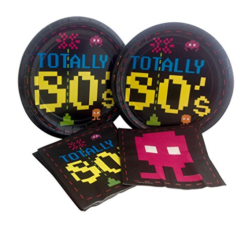 Totally 80's Arcade Birthday Party Bundle with Paper Plates and Napkins for 16 Guests -