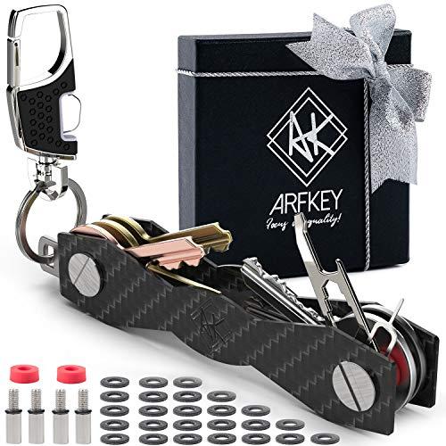 Smart Key Holder Key Organizer| Made of Sturdy Carbon Fiber & Stainless Steel- up to 28 Keys| Compact Key Holder Organizer + Bonus Heavy Duty Keychain Holder, Sim & Bottle Opener, Loop Piece & More ()