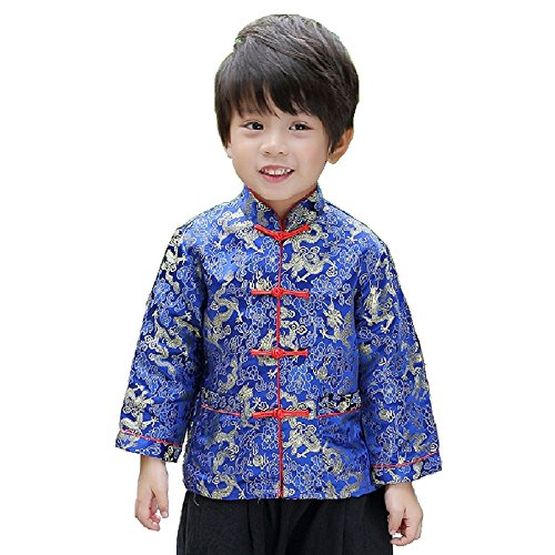 Hooyi Baby Boy's Thin Coat children Dragon Cheongsam Traditional Coat Boy Outwear Costume (Blue, ()